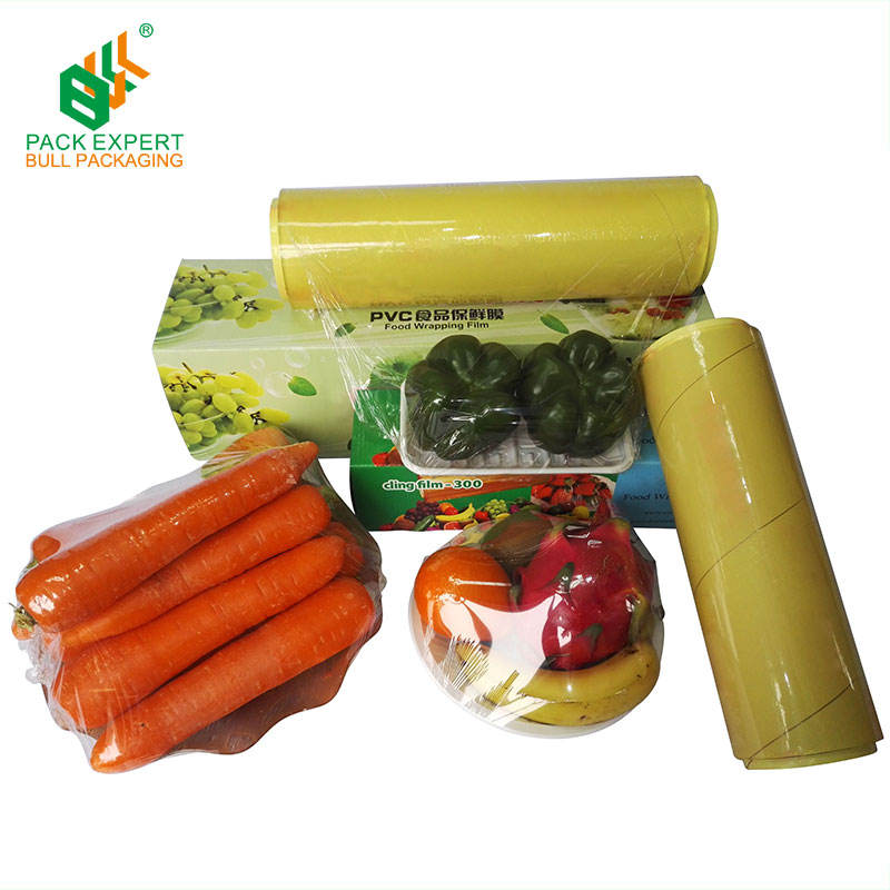 Factory wholesale price slide cutter strech best fresh food wrap transparent pvc cling film