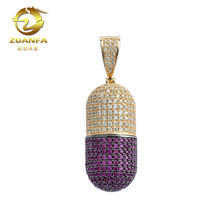 multi color micro pave lab diamond mens necklace capsule pill pendant