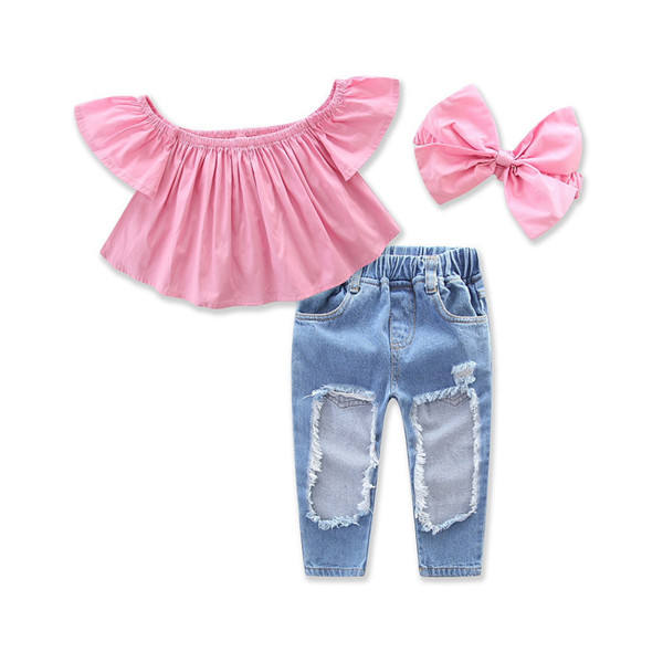 Ins hot style kids girl clothes Pink off shoulder top + ripped jeans children clothes for wholesale