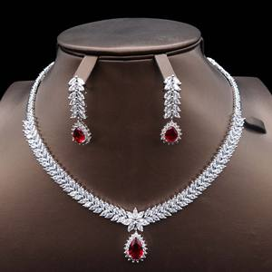 2019 New Deluxe AAA Zircon Ruby Real Gold Plated India Bridal Jewelry Set