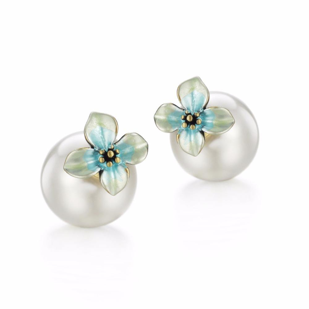 flower decoration stud pearl earrings with titanium pin