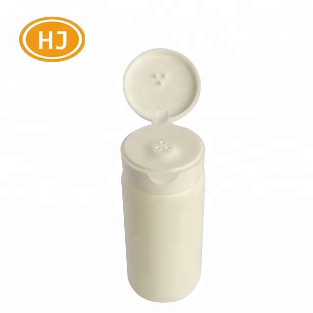 Skin care talcum powder container empty white plastic bottle