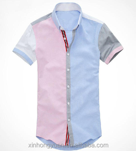 Custom blocking pink and blue man 160gsm CVC made new summer shirts in short sleeve