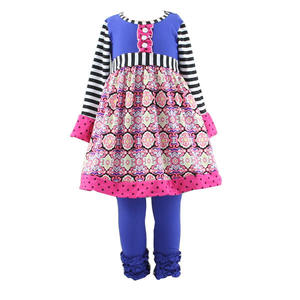 wholesale children's boutique clothing print baby clothes childrens clothing sets remake fall girls ruffle sets