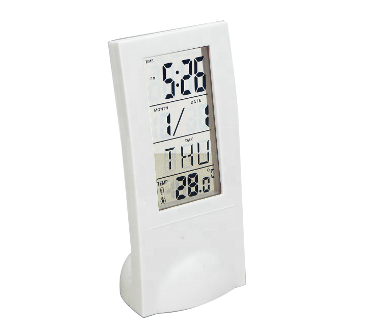 Wholesales plastic weather station desk alarm clock with humidity and temperature
