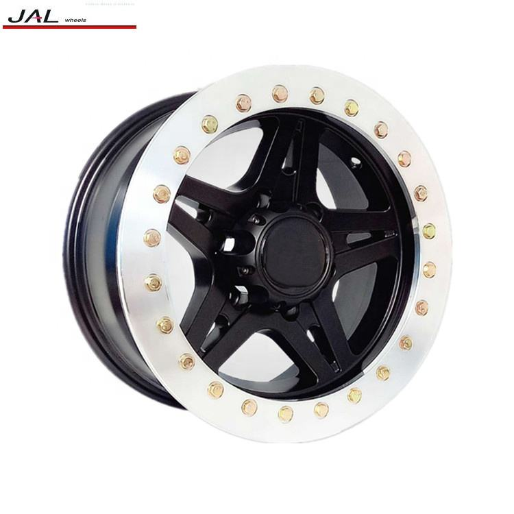 Black Wheels With Chrome Lip 4x4 Offroad Alloy Wheel