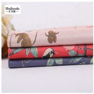 Beautiful polyester chinoiserie printing ultra suede cloth garment fabric