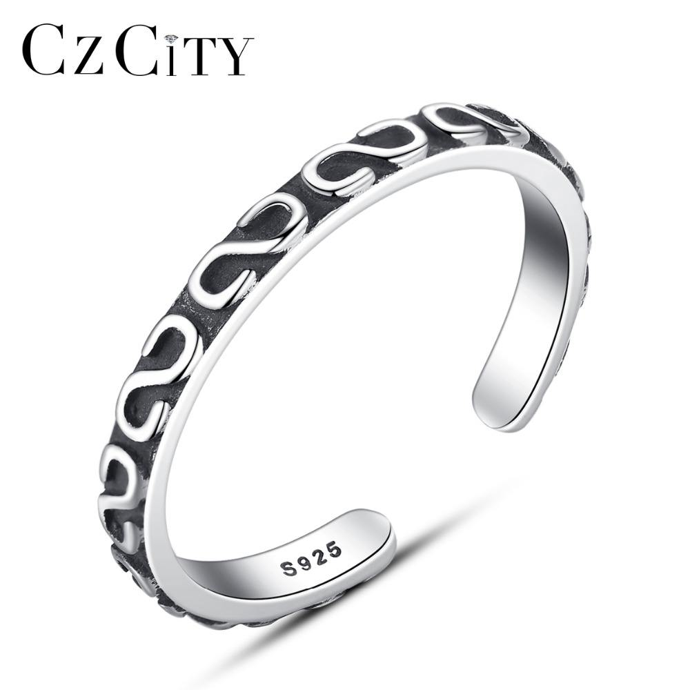 CZCITY S Stile di Modo Nero Uomo Anelli Donne 925 Sterling <span class=keywords><strong>Argento</strong></span> <span class=keywords><strong>Antico</strong></span> Anello In <span class=keywords><strong>Argento</strong></span> Thai