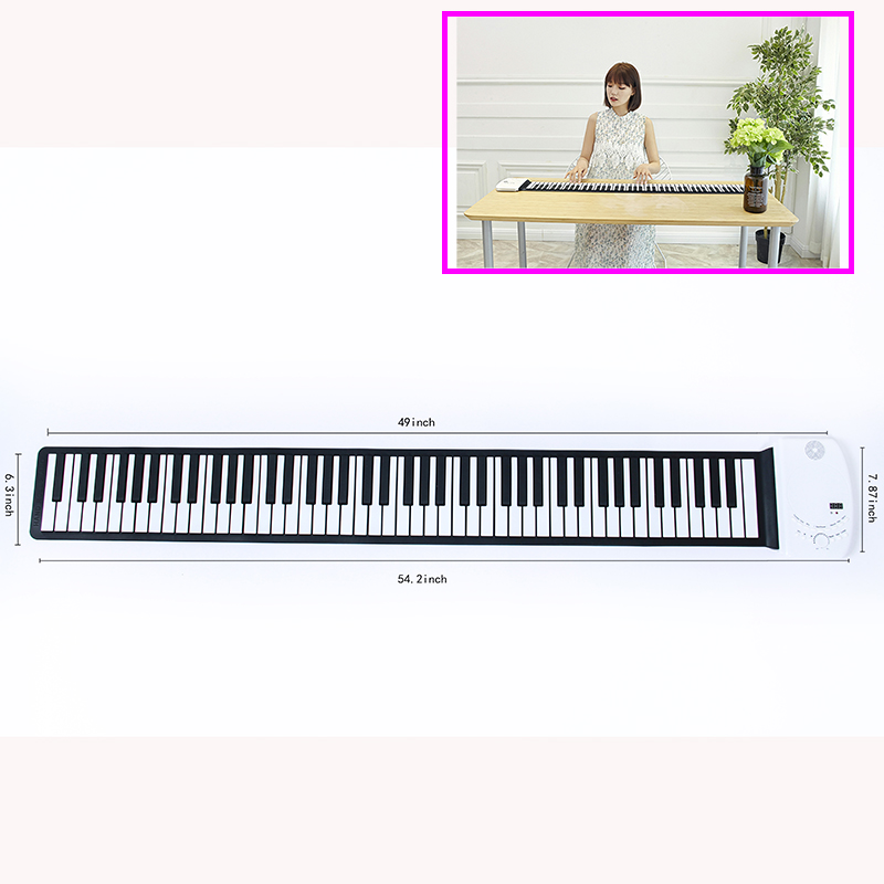 Sampel Gratis Silikon Fleksibel Tangan Roll Lembut 88 Kunci Lampu LED Digital Piano Keyboard