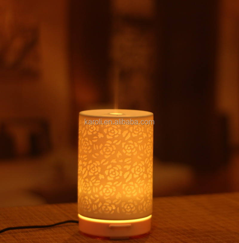 Etching Rose Ceramic Ultrasonic Essential oil diffuser with 9PCS LED light rotating and 120ML cool mist