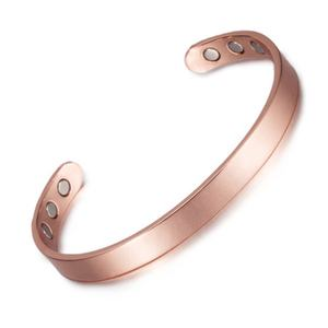 8mm pure copper Magnetic magnet health bracelet bangle open rose gold bracelets size adjustable