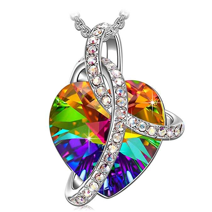 Necklaces for Women Love Heart Necklace Pendant with Crystals Jewelry for Women colorful pendant