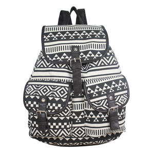 New design black white asteca canvas custom made mochilas