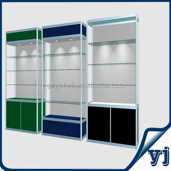 2014 Fashionable Aluminium Glass Kiosk Cabinets,Wall Mounted Led Display Cabinets, Made of Aluminum and Tempered Glass