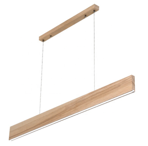 modern office led linear solid wood ceiling light fixture indoor deco living room warm light dimmable hanging pendant lamp