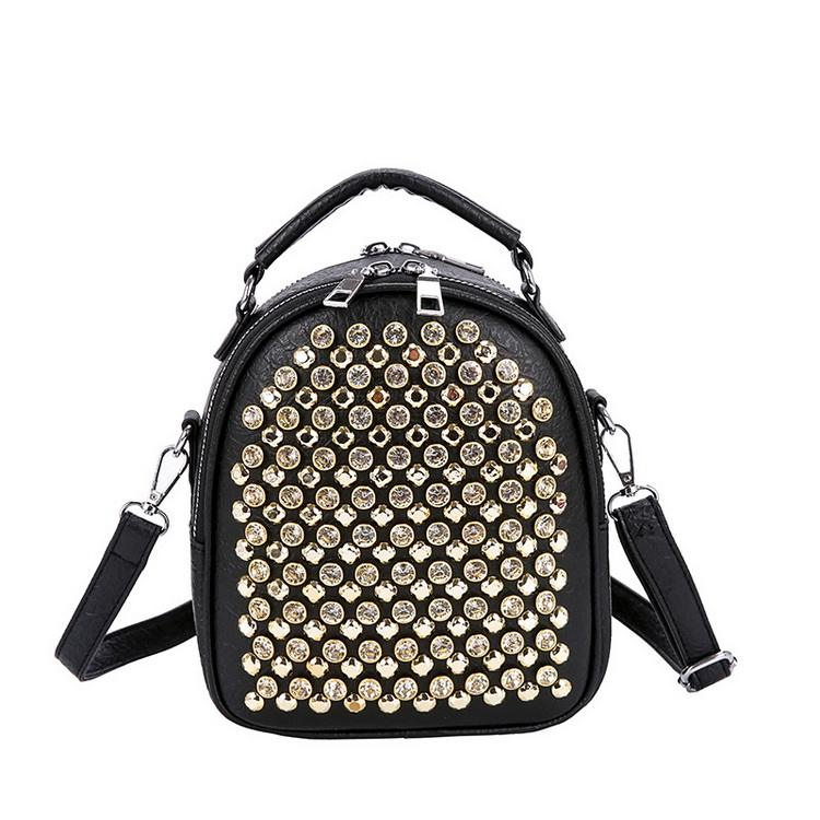 New Fashion Square Diamond Rivet Handbag Sequin Mini Backpack