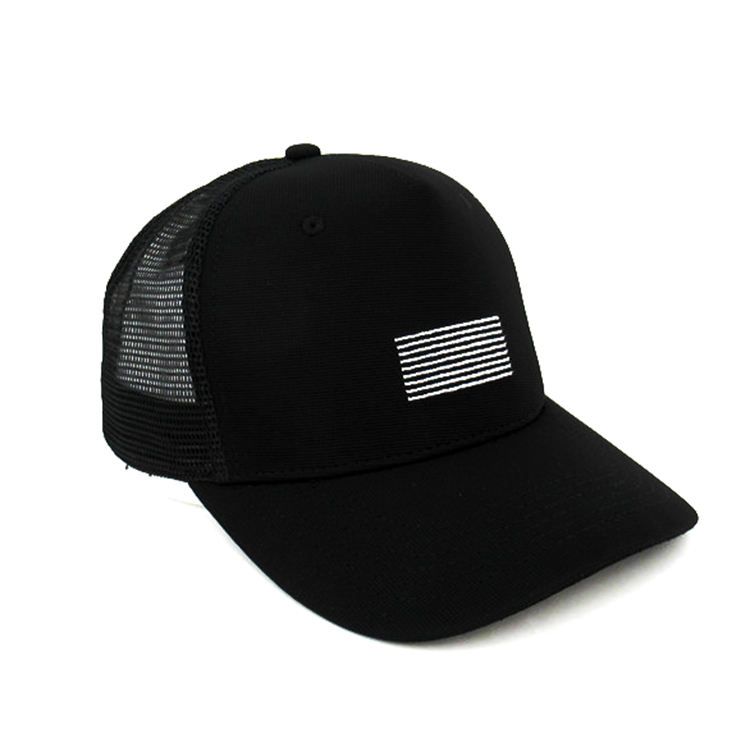 custom black poly 5 panel mesh baseball cap with rubber snapback closure