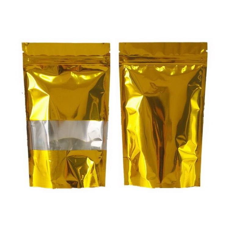 Stand Up Mylar Bags Gold Aluminum Foil Packaging Bag with Line Clear Window Zip Lock Self Seal Food Storage Package Pouch
