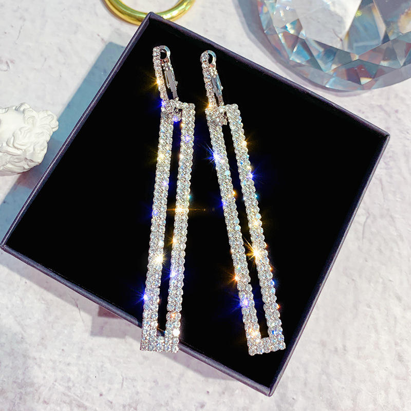 Gincom S925 Silver Pins Rectangle Cubic Zirconia Rhinestone Long Drop Dangle Fashion Earrings for Woman