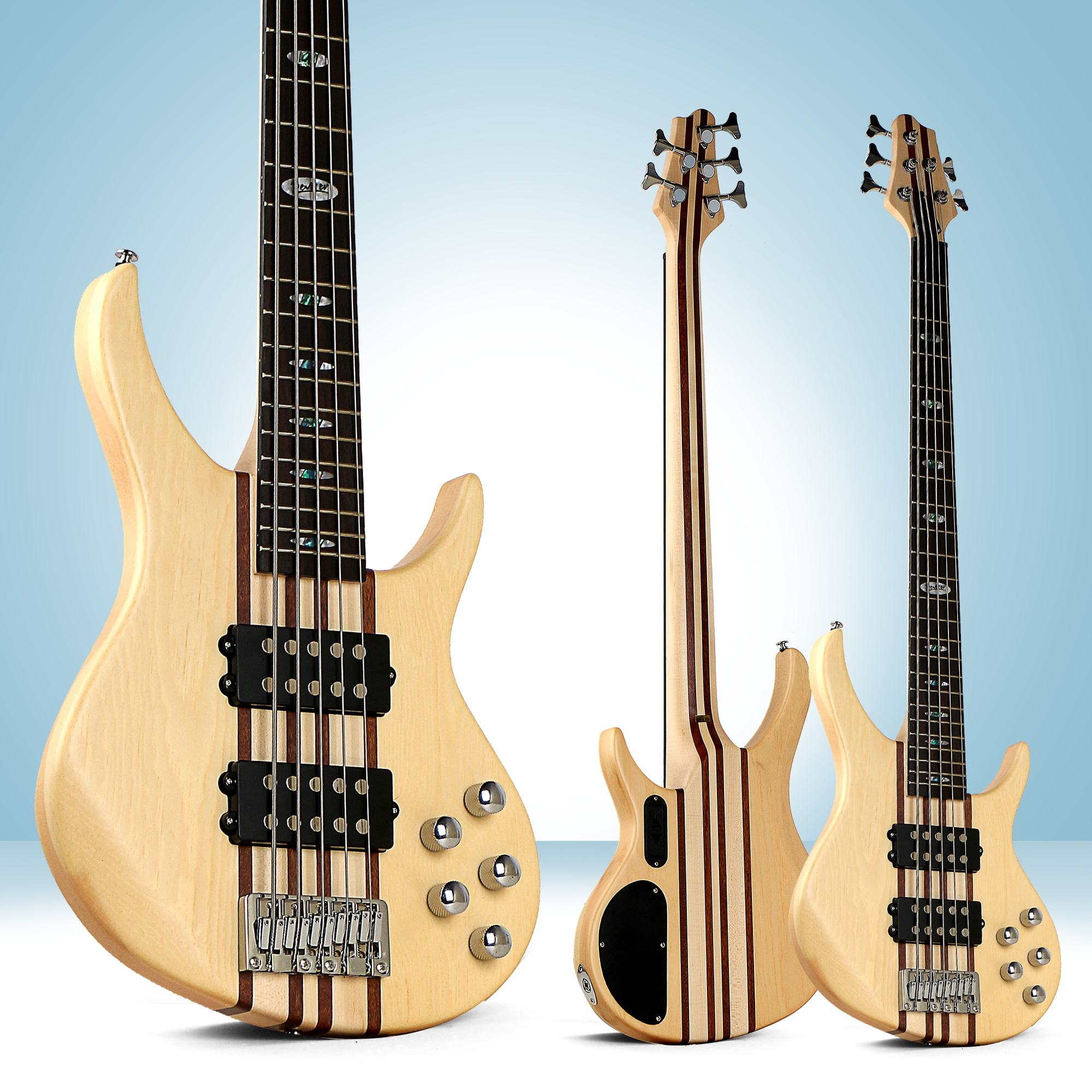 Natural wood electric bass guitar China wholesale factory 5 strings Rosewood 24 fret H-H pickups L-B45-T5