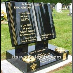 Black polished granite book memorial