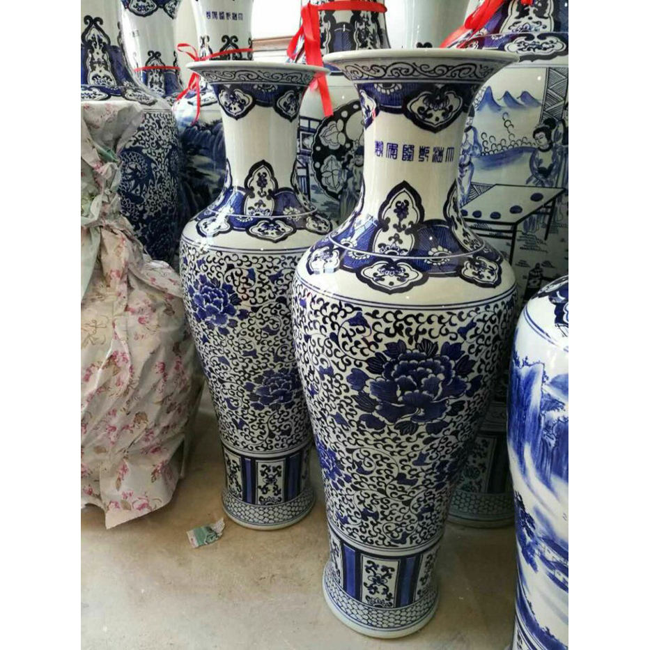 Wonderful 1m tall Big Chinese Hand Paint Flower Porcelain Ceramic Floor Vases