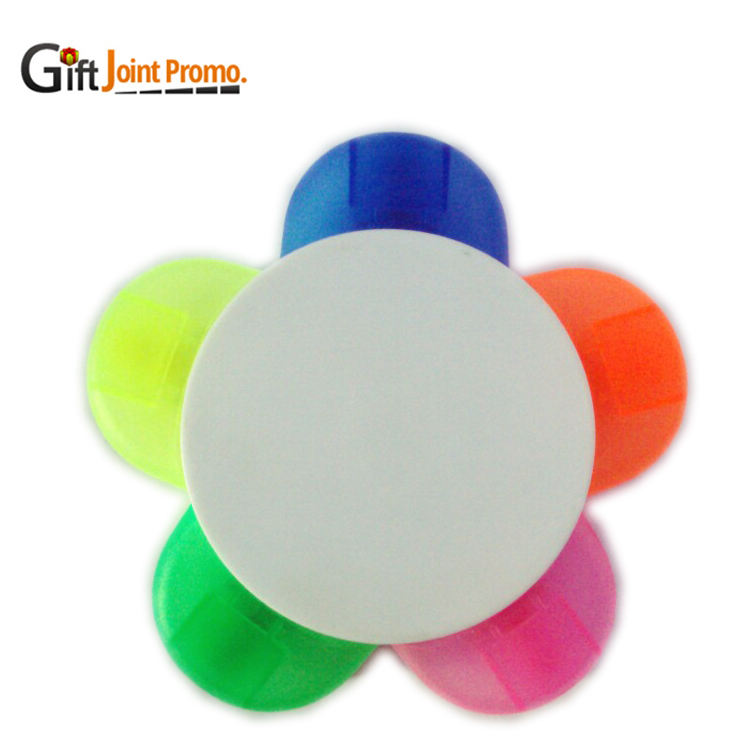 Promotional gift 5 colors flower shaped highlighter pen