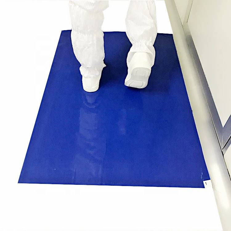 Disposable Dust Removal 60 x 115cm 35um Blue Antibacterial Sticky Mat for Hospital Lab Cleanroom