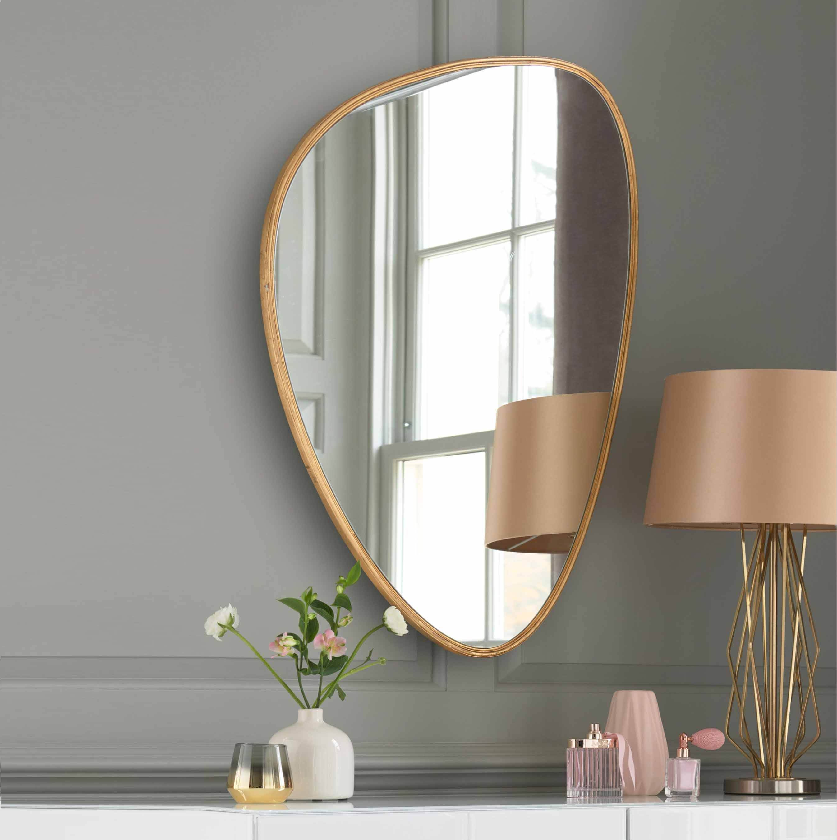 SWT modern stylish Home Decor Gold Round design decorative metal frame wall mirror for living room hotel decor