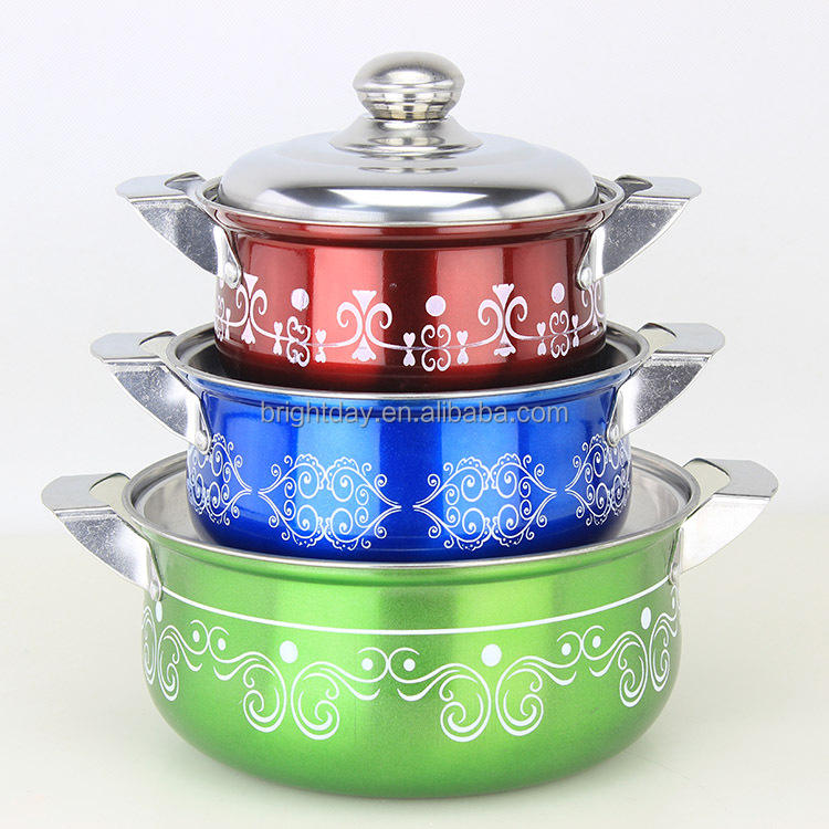 India and Nigeria hot sales stainless steel cookware set spraying color flower design 10pcs cookware set