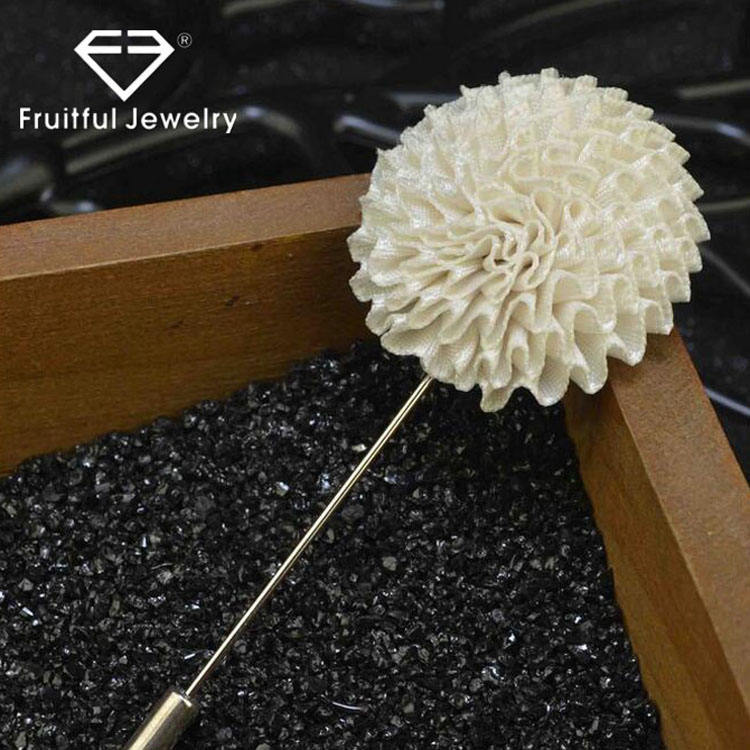 New Trendy Original Hand-Made Cloth 10 Color Flower Lapel Silver Plated Safety Pins Brooch
