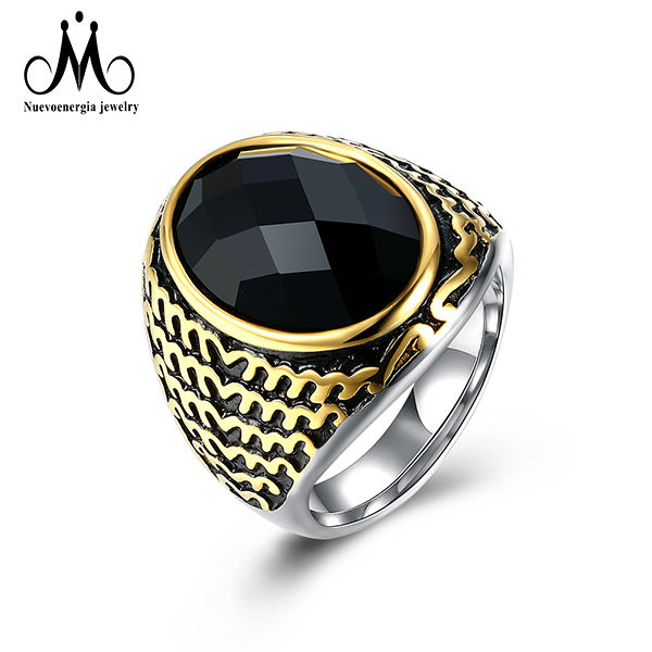 2018 New Fashion Black Round Signity CZ Ring Luxurious Men Jewelry