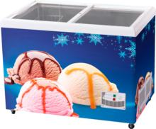 Round And Flat Sliding Glass Door Ice Cream Display Chest Freezer With Glass Top