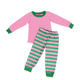 Wholesale Children's Boutique Clothing Green And Pink Striped Christmas Pajamas Baby Girl Clothes