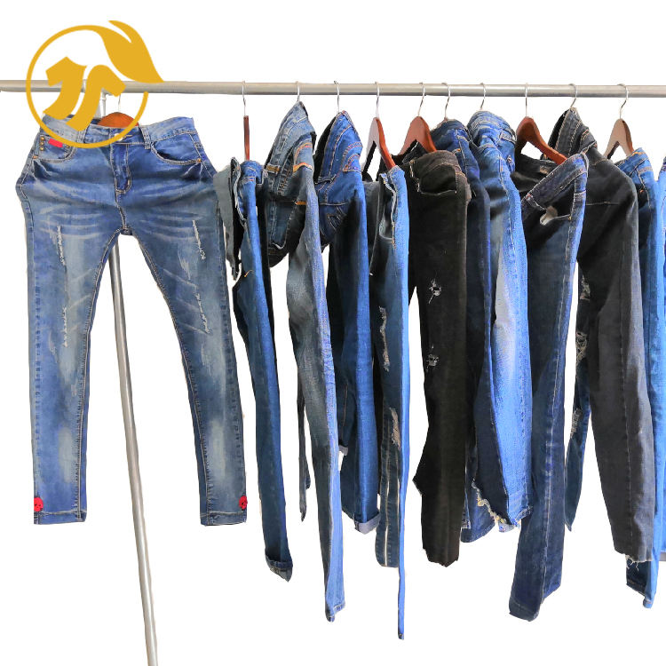 U-clothing factory wholesale sort Secondhand clothing of LADIES JEANS PANTS bale used clothes in China