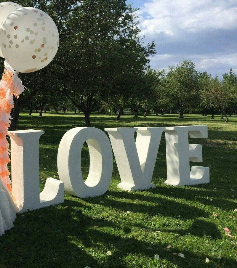 "thick 16"" wedding styrofoam table base letters large love sign candy bar freestanding giant foam sign"