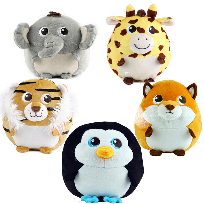 cute mini promotion gift soft toy Stuffed Penguin Tiger Girrafe Fox Elephant Animal Plush Toy For Kids