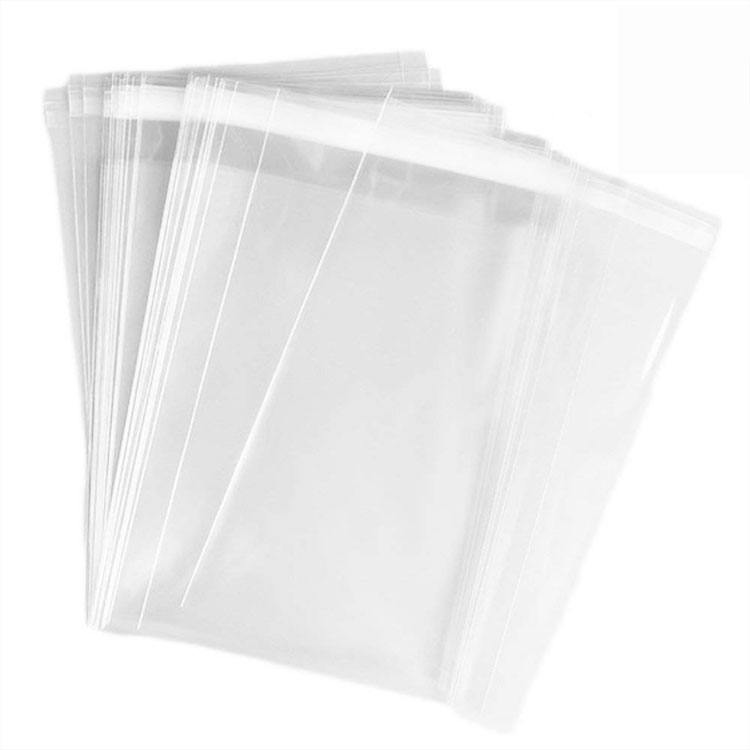 Custom Logo 12x15 inch 1.5 Mils Polypropylene transparent self-adhesive Clear apparel plastic opp packaging bag