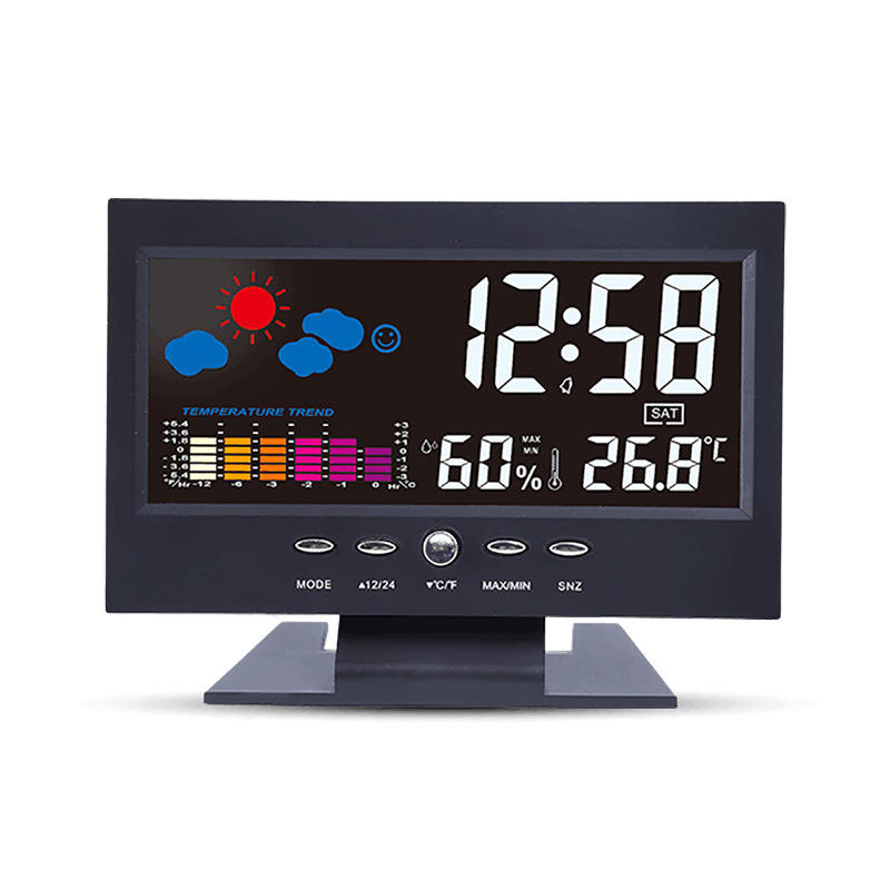 Sound Control Temperature Humidity Clock Large Display LED Color Screen Home Weather Station with Backlight