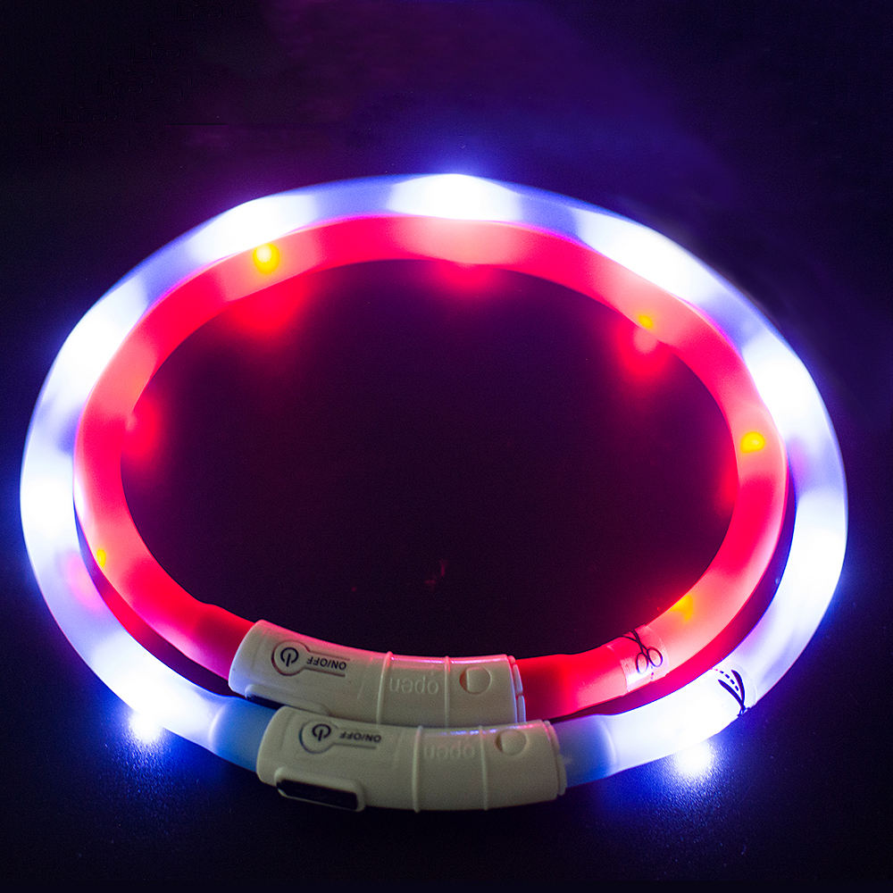 wholesale manufacturer led light rechargeable waterproof pp reflective custom pet dog collar