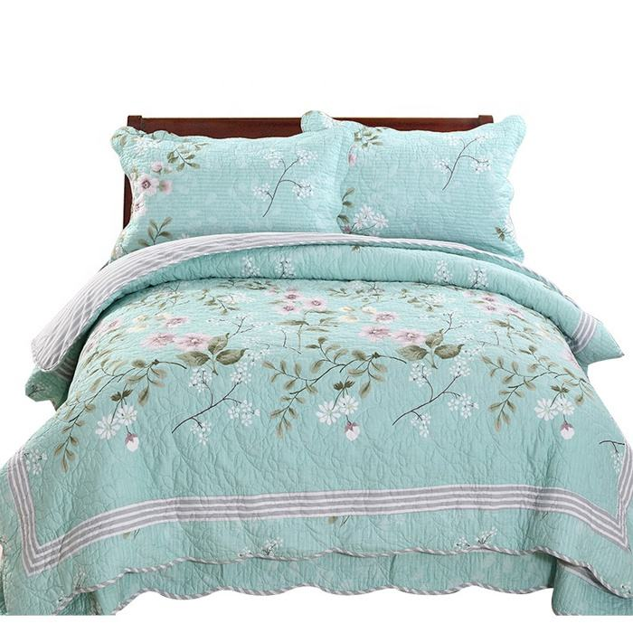 4個High Quality Fully Quilted Printed Quilts Bedspread Bed Coverlets Cover Set