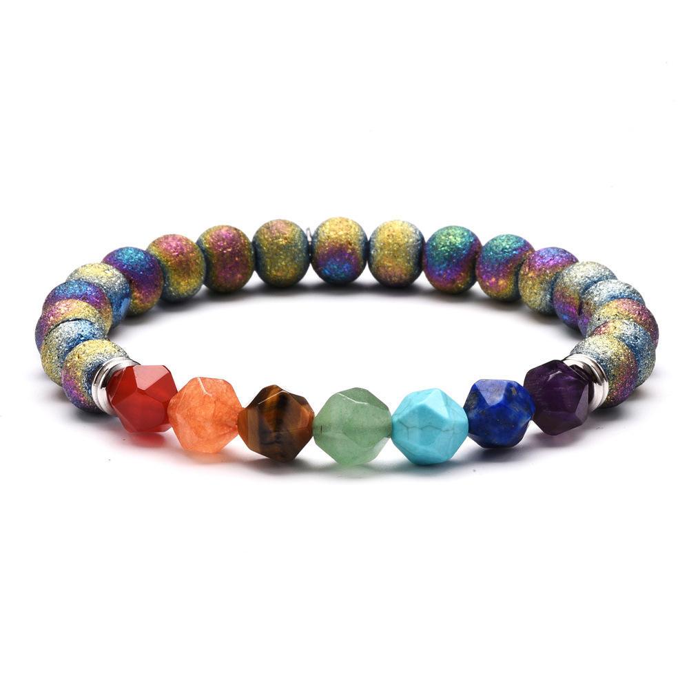 7Lava Rock Chakra Perles Bracelet unisexe en pierre naturelle agate