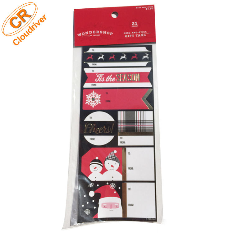 New Design Christmas Package Gift Tag Silver Stamping Paper Sticker