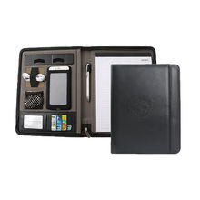 Office supplies black business leather portfolio with secure zippered closure