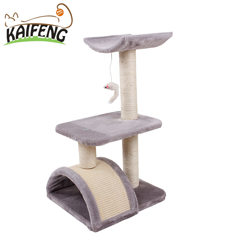 Factory Directly Provide Cat Tree With Sisal Mat And Plush Nip Toy