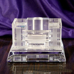 Customized 3d  crystal  building model with free logo and wording for company souvenir gifts