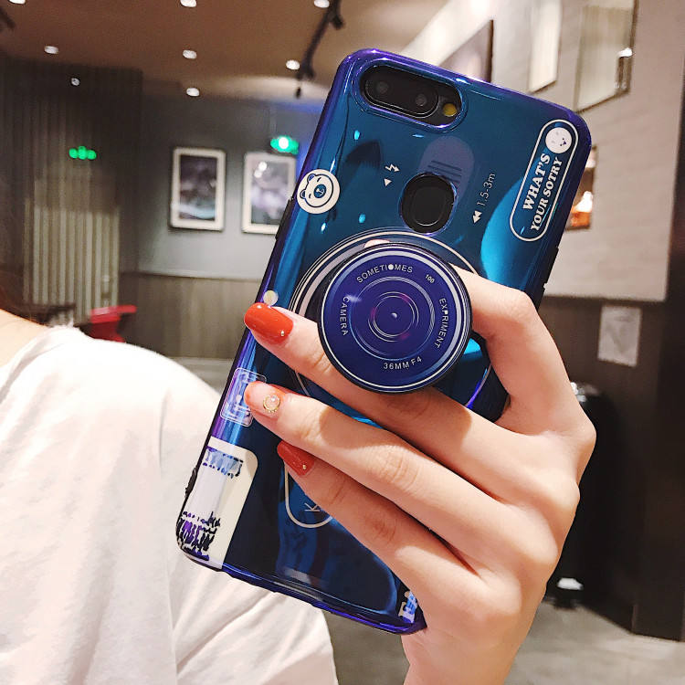 Cool IMD Camera Design TPU Cell Phone Case with Holder for iPhone XS Max , For Samsung S9 Plus Case Camera