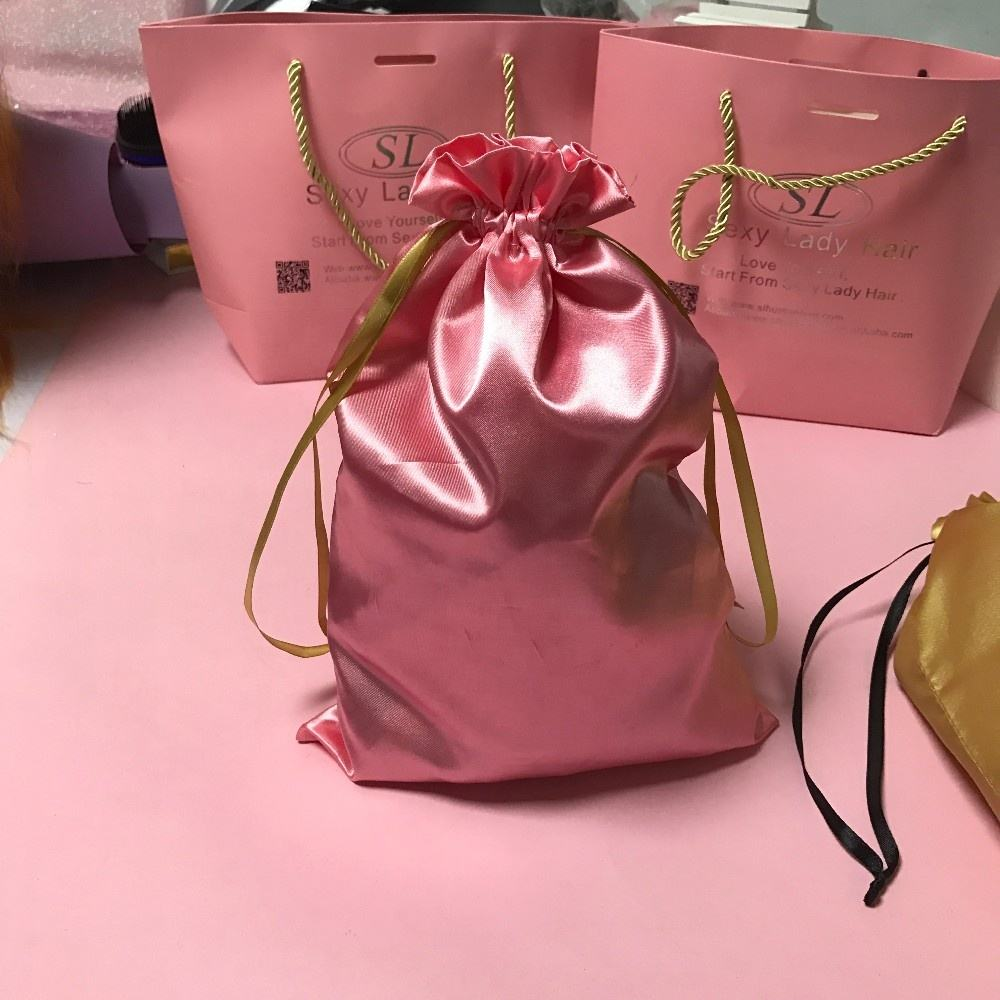 wholesale satin gift bag custom hair silk packaging bag with brand logo