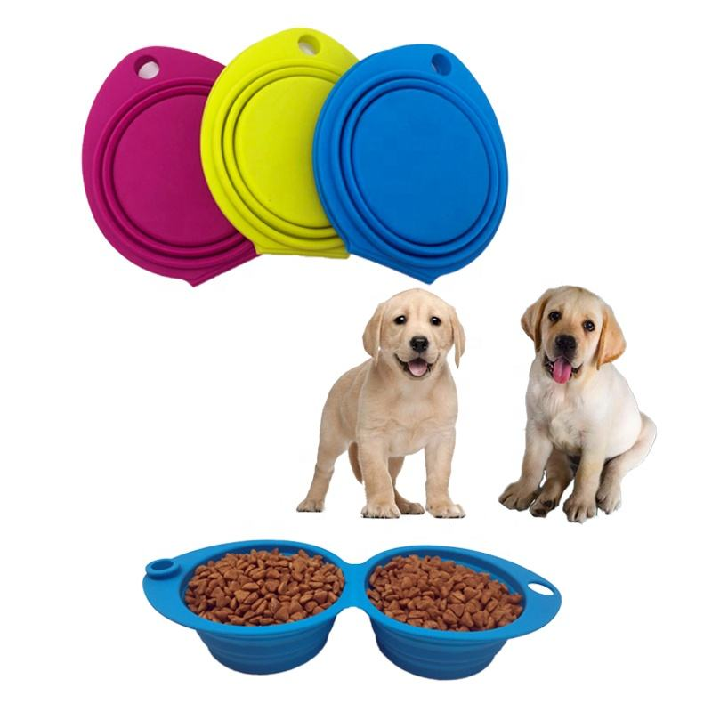 Eco-friendly 2 in 1 pet silicone water bowl for dog and cat, collapsible double bowl for food water portable dog bowl new