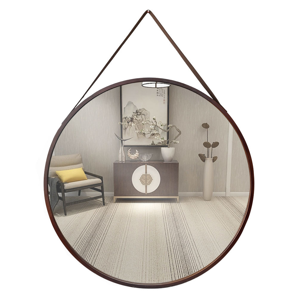 Living Room Decorative Wood Round Mirror with Leather Strap